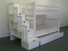 Woah! Trundle and twin over twin w/ stairs, drawers, and shelves!