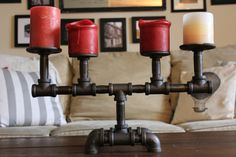 Industrial yet cozy, this unique candelabra is able to provide warmth while still maintaining a rustic/industrial feel -- the perfect his&her