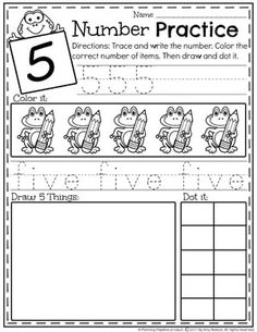 Kindergarten Number Worksheets - Number 5 This Kindergarten Math Unit 1 Set includes 25 Number Worksheets and 15 Math Centers. Simplify your lesson planning with these fun, hands on activities. Numbers Kindergarten, Kindergarten Math Activities, Numbers Preschool, Preschool Activities, Back To School Worksheets, Kids Math Worksheets, Number Worksheets, Writing Numbers, Writing Practice