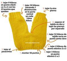 Pantalón para bebé (conjunto de 4 piezas) tejido en dos agujas o palitos!