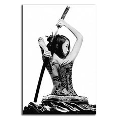 Choosing a giant artwork will make a huge statement in your room. Select the type of finishing and select size from the Options MenuMade in USACustom size and custom printing is available. Write to me your inquiries and request Sword Tattoo, 1 Tattoo, Japanese Drawings, Japanese Tattoo Art, Female Samurai Tattoo, Japanese Sleeve, Japanese Art Samurai, Samurai Artwork, Japan Tattoo
