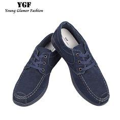 Ygf Canvas Denim Shoes Men Breathable Non-Leather Casual Shoes Jeans Men Footwear Canvas Lace Up Mens Shoes Tenis