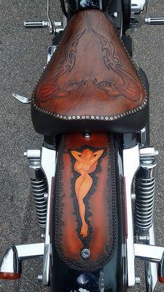 Motorcycle Tank, Motorcycle Seats, Motorcycle Leather, Bike Seat, Biker Leather, Leather Carving, Leather Art, Custom Leather, Leather Design