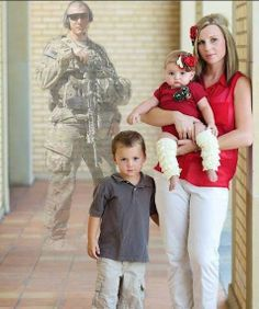 Fallen hero Brandon watches over his wife Miranda and their kids.   Thanks to Billie Wright Porter for sending in this POWERFUL photo of her friend.