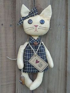 Home Sewing Crafts Primitive Country Grungy Tan Cat Doll Wood Mouse Black Homespun Rusty Prim Tag Cat Crafts, Sewing Crafts, Fabric Animals, Fabric Toys, Cat Doll, Sewing Dolls, Cat Pattern, Stuffed Toys Patterns, Handmade Toys