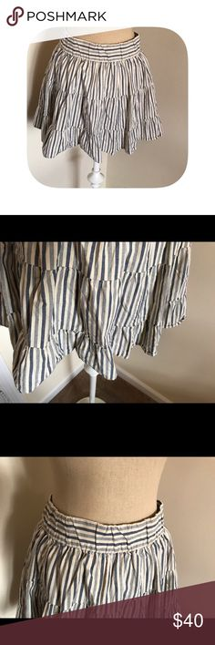 """⭐️Just in⭐️ J. Crew striped skirt M Adorable blue and cream striped J. Crew skirt size medium. Waistband is elastic and will stretch an inch. Lined and in fantastic condition. Waist 16-17"""", waist to hem 15"""". J. Crew Skirts"""