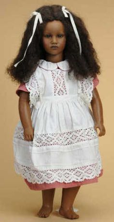 """Fatou, one of the """"Barefoot Children"""" series by Annette Himstedt, 27 inch."""
