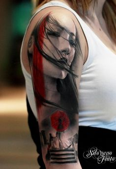 sleeve x #tattoo #ink #inked this one is rad .. black grey and red is an awesome pallet