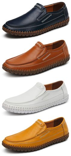 Large Size Men Hand Stitching Soft Doug Shoes Slip On Leather Loafers