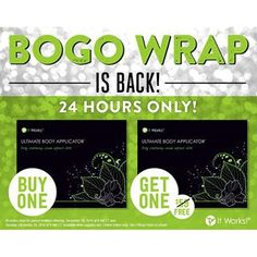 It's a bird! It's a plane! ✈️ No, wait... BOGO WRAP is back! Cheers to a Wraptastic ✨ New Year!  BOGO Wraps run from 9am CT December 28 through 9am CT December 29, while supplies last. Get yours before it's too late! #FinishStrong