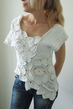 White crochet blouse,irish crochet blouse,freeform crochet top,lace crochet top via Etsy