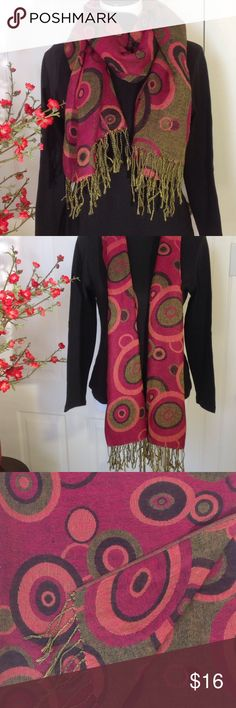 """Bundle Up with Bold Scarf/Wrap No tags or fabric content. Fabric feels like a Wool/Polyester blend. Bold colors. Many find a few thread pulls, but not noticeable when worn. Approx. 72"""" L x 28"""" W. Accessories Scarves & Wraps"""