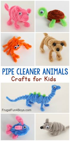 Adorable Pipe Cleaner Animals Craft for Kids - Frugal Fun For Boys and Girls. Adorable Pipe Cleaner Animals Craft for Kids - Frugal Fun For Boys and Girls Animal Crafts For Kids, Easy Crafts For Kids, Craft Activities For Kids, Cute Crafts, Toddler Crafts, Preschool Crafts, Art For Kids, Kids Animals, Kids Arts And Crafts