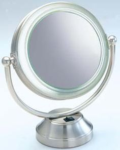 Rialto Coolite Flourescent Lighted Cosmetic Mirror - 8.50 Diameter - Brushed Nickel Metal by Floxite * For more information, visit image link.