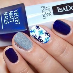 Navy Blue and Silver Snowflake Design