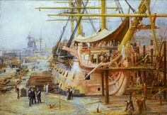 """""""Restoring HMS Victory"""" by the great marine artist William Lionel Wyllie Bateau Pirate, Old Sailing Ships, Hms Victory, Ship Of The Line, Naval History, Wooden Ship, Nautical Art, Armada, Art Uk"""