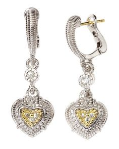 Pave Heart Earrings by Judith Ripka at Last Call by Neiman Marcus.  - Exquisite