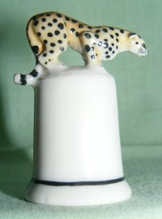 animal Thimble | click to enlarge klima porcelain leopard on thimble this thimble