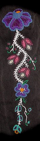 Sample(Christi Belcourt (b. is a Michif (Metis) visual artist and author whose ancestry originates from the Metis historic community of Manitou Sakhigan (Lac Ste. Raised in Ontario, Christi is the first of three children born t Indian Beadwork, Native Beadwork, Native American Beadwork, Loom Patterns, Beading Patterns, Beading Ideas, Floral Patterns, Beadwork Designs, Native American Crafts