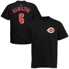 Men's Cincinnati Reds Billy Hamilton Majestic Black Official Name and Number T-Shirt