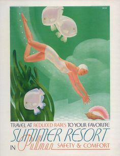 Summer Resort in Pullman - Lady Diving for Conch Shell - Retro travel Poster - Vintage Poster by Studio Grafiikka Retro Poster, Poster Ads, Poster Vintage, Vintage Travel Posters, Vintage Ads, Vintage Swim, Art Posters, Vintage Advertisements, Graphic Posters