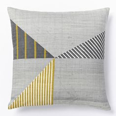 Yellow + Gray coor combo in our Steven Alan Hand-Blocked Triangle Pillow Cover #shareyourstripes