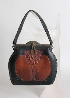 f71fd6177e1 Vintage Early 1930s Art Deco Tooled Leather Purse