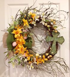 Spring and Easter grapevine wreath by DeVine Creations by Melanie.