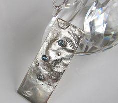 "Rectangular Blue Topaz Pendant Sterling Silver ""Seaside Series"" by DixSterling"