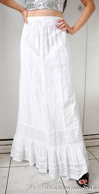 $118 BCBG BCBGeneration Maxi Skirt White Lace Ruffle Trim Long Size 4 XS S   eBay