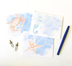 Nautical Watercolor notecard set of 6-Perfect for all occasions, crab, seahorse, starfish by Anchor52 on Etsy