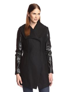 DL2 Women's Cece Coat with Faux Leather Sleeves