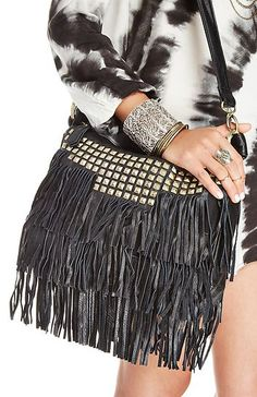 Ooo black leather fringe purse