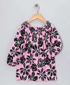Take a look at this Pink Floral Smocked Tunic - Toddler & Girls by Girlfriends by Anita G. on #zulily today!