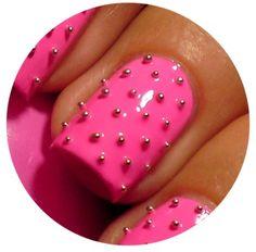 Caviar + pink nail art design