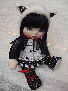 OOAK Mattel My Child Doll ~ Black and White Cat