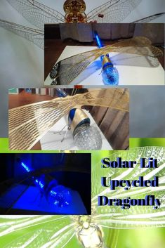 Create a Solar-Lit Dragonfly using a wine bottle & lamp pieces. Add a solar-powered string light kit and your bug will glow from within. So drink up & upcycle! Empty Wine Bottles, Recycled Wine Bottles, Wine Bottle Art, Recycled Glass, Recycled Crafts, Glass Bottles, Solar String Lights, Solar Powered Lights, Light Bulb Crafts