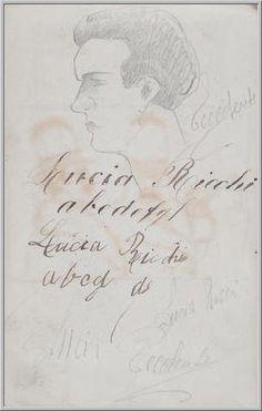 Mario Tozzi 1912: Testa Maschile Disegno matita e inchiostro - cm.(11x17) - Collezione eredi Brunetti-Laderchi Bologna - Arc.413.