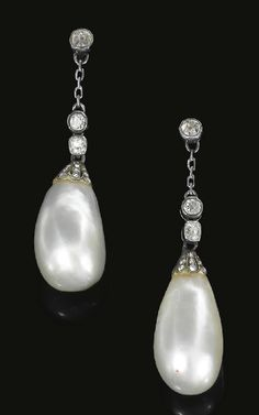Pair of natural pearl and diamond earrings, circa 1820. Each surmount set with cushion shaped and single cut diamonds in collet settings, suspending a pearl drop from rose diamonds