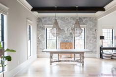 dining-room-wallpaper-inkwell-black-ceiling-nuvolette-whitewashed-hardwood-floors-ceiling-beams-two-chandeliers-cole-and-sons-black-window-sashes-gossamer-veil-sherwin-williams (34 of 7) - Addison's Wonderland