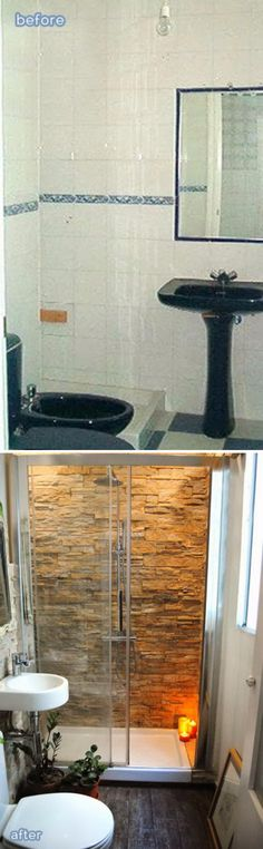 Stone Accent Wall In The Bathroom Adds Warmth And Class.