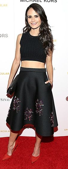 The Furious 7 actress worked a Paule Ka knit crop top, teamed with an embellished ASOS skirt and crimson Kurt Geiger pumps.