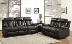 Ackerman Collection Double Reclining Sofa 8500BLK-3 With a design style that is flexible for placement in number of living environments, the Ackerman will be a welcome addition to your home. Dual reclining ends are featured on the sofa and love seat for maximum comfort. That comfort extends to the matching reclining chair. The bonded leather match collection is offered in either grey or black.  Features: Ackerman Collection Contemporary Style Black Color Bonded Leather Match Cover…
