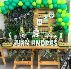 so much green in this panda party! -See more Panda Party ideas on B. Lovely Events