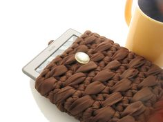 Crochet Kindle Case, Brown Kindle Cover - pinned by pin4etsy.com