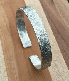 Lightweight minimal classy silvery textured aluminum cuff bracelet