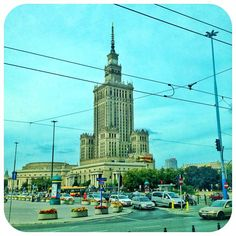 "@julia7g's photo: ""Palace of Culture and Science in Warsaw, Poland #palace #pałac #kultura #nauka #culture #science #poland #polska #warszawa #warsaw #city #traffic #sky #miasto #cars"""