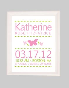Birth Announcement Print Personalized by ThatsAdorableLLC on Etsy
