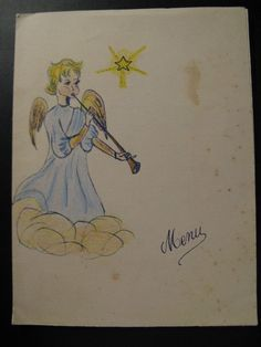 Old Vintage Menu 1962, with an angel...