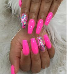 💕💕SUGAR FACTORY💕💕 Custom for my boo HNIK Creative - Tips and Resources for Creatives that want to build a brand and shine online Invite Using color foil and… nail jenner nail wedding nail nail nail nail Pink Acrylic Nails, Pink Nail Art, Acrylic Nail Designs, Nail Art Designs, Hot Pink Nails, Bright Nail Designs, Bright Pink Nails With Glitter, Nail Designs Hot Pink, Bright Nails For Summer